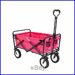 Mac Sports Collapsible Durable Folding Outdoor Garden Utility Wagon Cart, Pink