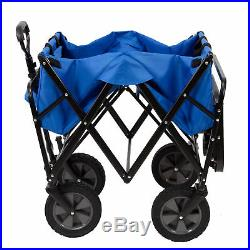Mac Sports Collapsible Folding Outdoor Garden Utility Wagon Cart with Table, Blue