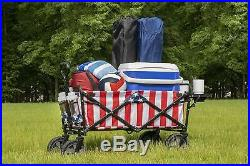 Mac Sports Collapsible Folding Outdoor Utility Wagon with Side Table American Flag