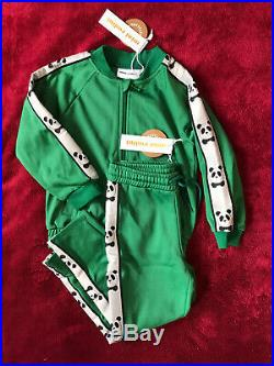 Mini Rodini Green Panda WTC Track Suit Set 104/110 3 To 5 Years Old