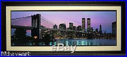 New York Skyline World Trade Center & Brooklyn Bridge Print Framed A+ Quality