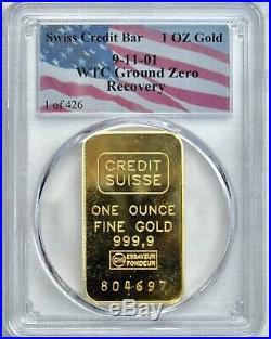 PCGS WTC 9-11-01 ground zero recovery rare 1 oz bar 1 of 426 toned