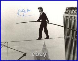 PHILIPPE PETIT SIGNED 8x10 PHOTO CROSSED ON WIRE WORLD TRADE CENTER BECKETT BAS