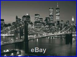 Photo twin towers new york brooklyn bridge world trade centre b&w 60x80 print