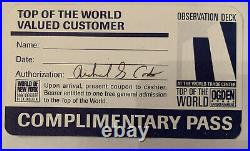 Pre 9/11 World Trade Center Observation Deck Complimentary Pass Top Of The World