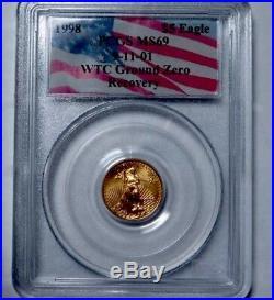 RARE! MS69-1998 WTC 911 Ground Zero Recovery $5 Gold Eagle 1/10th Oz PCGS