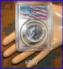 RARE WTC TRADE CENTER RECOVERY COIN PLATINUM CANADA 9/11/01 PCGS 1Oz MAPLE LEAF