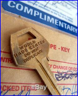 RARE World Trade Center Key + Visitor Badge, Pass Pre 9/11 New York City USA