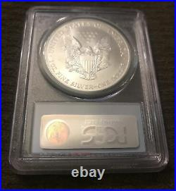 Rare- 2001 Ms69 Barcode Silver Eagle Wtc Trade Center 9/11 Recovery Pcgs