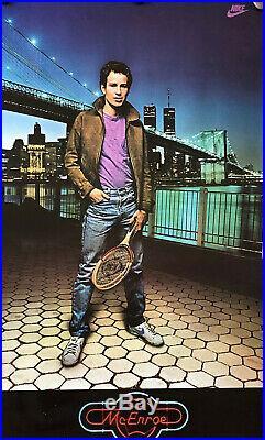 Rare JOHN MCENROE NIKE Poster with World Trade Center Towers & Brooklyn Bridge
