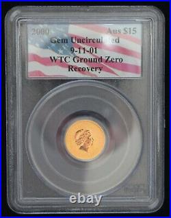 Rare Opportunity 2000 WTC 9/11 recovery Aust $15 GOLD coin, PCGS Gem UNC
