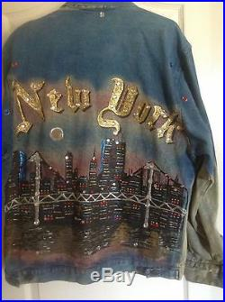 Rare Vintage Jean Jacket with painted New York's skyline of World Trade Centers