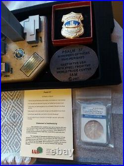 Recovered world trade steel +recovered Silver coin from under wtc! RAREST RIP