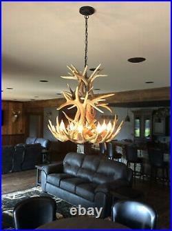 Santa Fe Real Antler White-tail Cascade Chandelier Cd-wtc, Rustic Deer Light