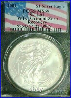 Scarce Barcode 2001 Wtc Trade Center Silver Eagle Pcgs Ms69 (3633nam)