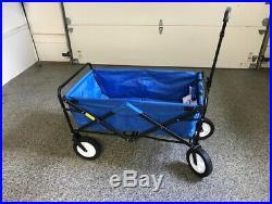 Shopping Basket Folding Cart On With Swivel Wheels Outdoor Utility Wagon Blue