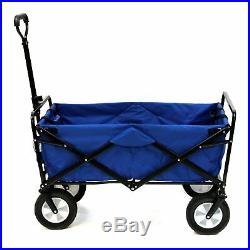Shopping Basket Folding Cart On With Wheels Outdoor Utility Wagon Blue NEW