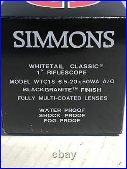 Simmons Whitetail Classic 6.5-20 x 50mm Mil Dot Matte Wide Angle 1 Rifle Scope