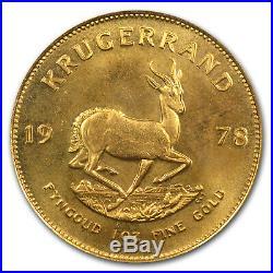 South Africa 1 oz Gold Krugerrand Unc PCGS (WTC, Random Date) SKU #68856