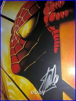 Stan Lee Signed Spider-Man 2002 Framed Rare Recalled World Trade Center Poster