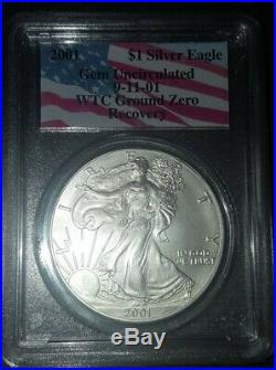 Super Rare 2001 Silver Eagle Pcgs Gem Uncirculated Wtc Ground Zero Recovery