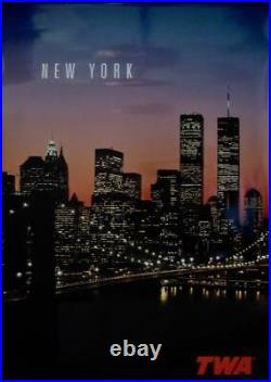TWA NEW YORK WORLD TRADE CENTER 1999 Vintage Travel poster 26x38 AIRLINES NM