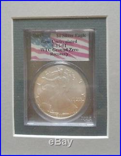 TWO 2001 WTC Ground Zero 911 American Silver Eagle $1 and ART FRAME