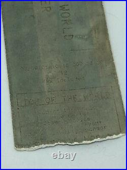 Top Of The World Trade Center Ticket Stub 9/9/01 Two Days Before 9/11 Attack NYC