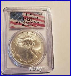 Two(2), 2001 American Silver Eagle WTC Ground Zero Recovery 9-11-01 PCGS Gem Unc
