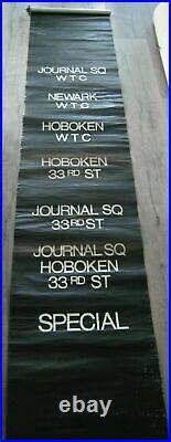 Vintage Path Subway Train Car 2-Sided Destination Roll Sign WTC Hoboken Newark