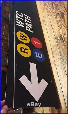Vintage TRANSIT SIGN WTC PATH TRAIN SUBWAY NYC NJ DISPLAY MANCAVE POST 9-11 Rare