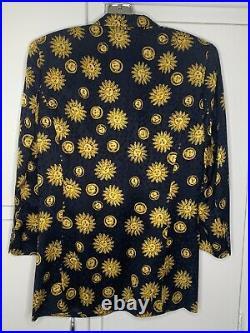 Vintage WTC Silk Blazer with Celestial Sun Print in Womens Size XS