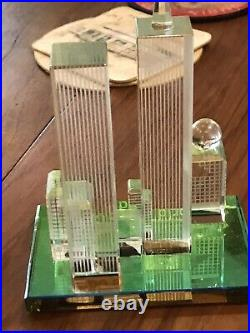 Vintage World Trade Center Twin Towers Crystal 1970s Souvenir