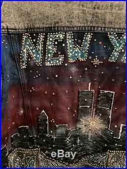 Vtg 1990s New York Twin Towers Handpainted Studded Denim Jacket WTC Tony Alamo