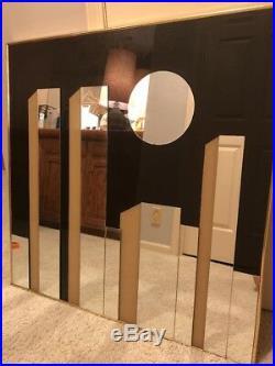 Vtg Modern 70s Mirror Wall Art Cityscape NYC World Trade Center Moon Turner Era