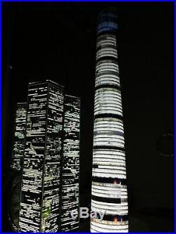 WORLD TRADE CENTER TWIN TOWERS MODEL 9/11 lighted lamp translight prints