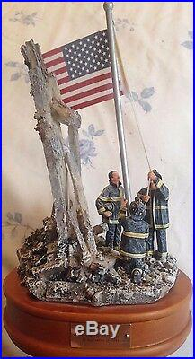 WTC Vanmark Red Hats Of Courage Image Of Hope 9/11 Music Box Figurine WTC