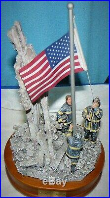WTC Vanmark Red Hats Of Courage Image Of Hope 9/11 Music Box Figurine WTC