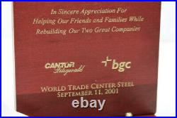WTC World Trade Center Recovery 9/11 Piece Steel Ground Zero Cantor Fitzgerald