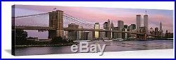World Trade Center Brooklyn Bridge NY Picture on Canvas 48 x 15