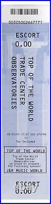 World Trade Center Ticket 2001 Observatory Deck Aug 01